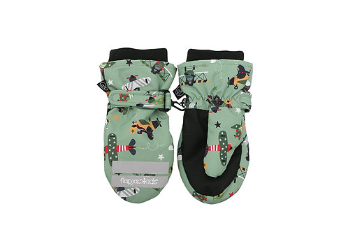 Pair of light green & black water repellent mitts with print of black bears & airplanes