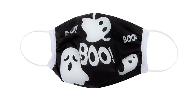 Kids' black protective cotton mask with white ghosts and text 'BOO!'