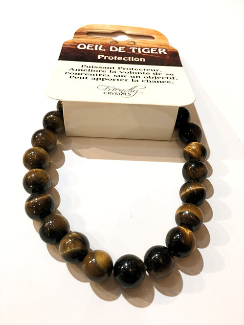 Close up of tigers eye Natural Stone Bead Stretch Bracelet
