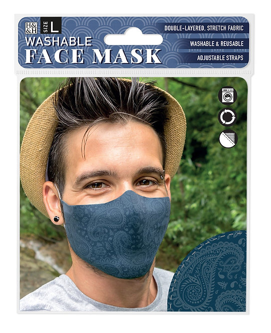 Packaging showing model wearing blue mask with lighter blue paisley print