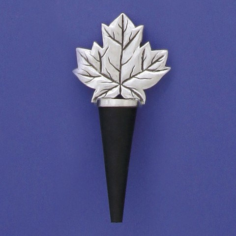 Pewter bottle stopper with rubber cone & maple leaf shaped top