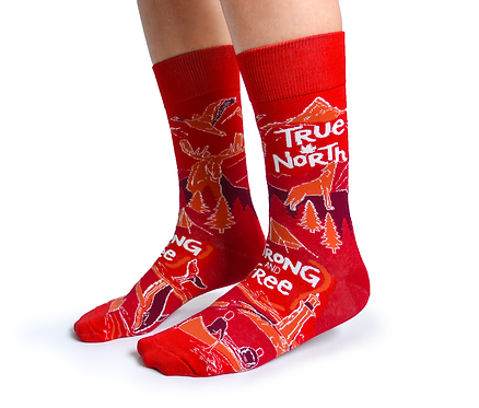 Red Uptown Sox True North Socks side view, white lettering reads 'true north' & 'strong & free'