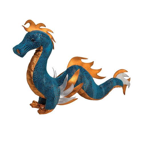 blue & gold sea serpent plush toy