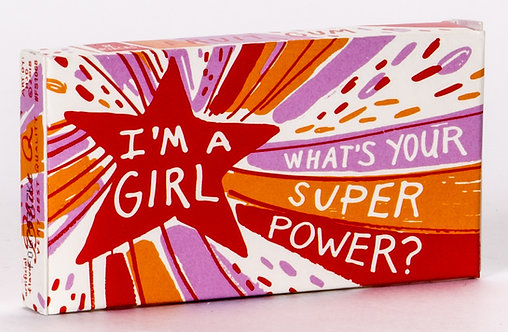 Blue Q gum Box reads: I'm a girl, what's your superpower?