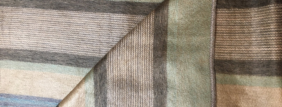 Green, yellow &, brown striped blanket with one corner folded back to show same on both sides