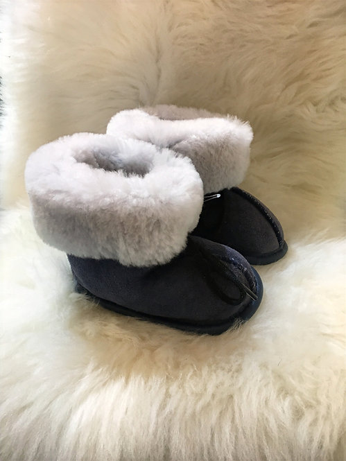 Toddler Sheepskin Slippers - Denim