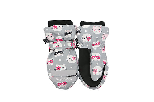 Pair of gray & black water repellent mitts with pink & white cat print
