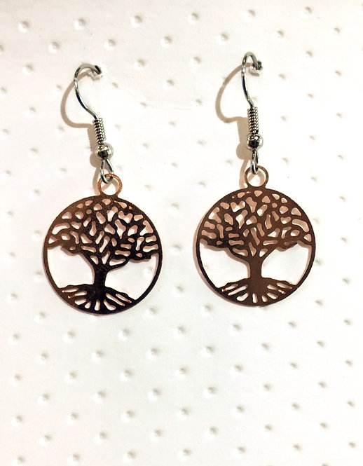 Pair of Rose gold colored earrings in round filigree shape with tree