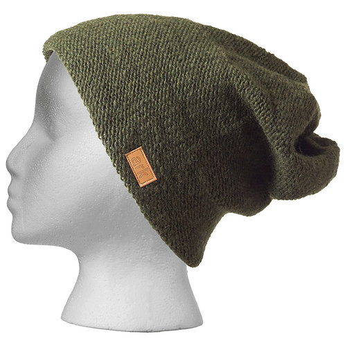 Knit wool slouch hat-forest green