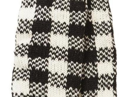 Knit wool leg warmer-black & white check pattern with red stripe at cuffs