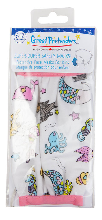 plastic package of kids protective mask white with pink & blue sea creatures including mermaids