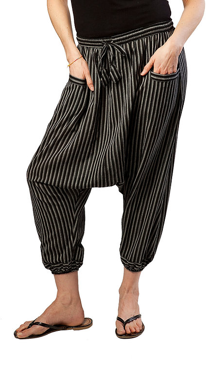 Fair trade cotton harem pant-drawstring waist-2 outer pockets-cuffed mid-calf-black with natural vertical pinstripes