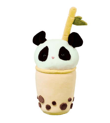Plush toy shaped like a cup of bubble tea with a panda head on the top