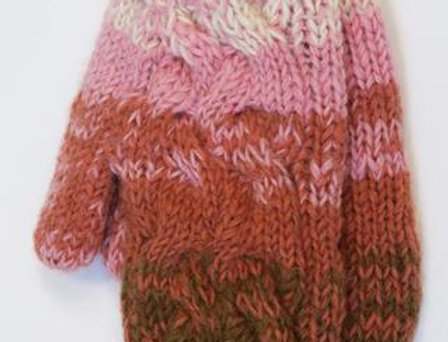 Beige, pinks & rust mitts knit in wavy cable pattern
