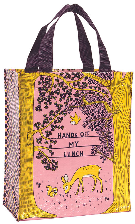 Blue Q Handy Tote - Hands off my lunch front view