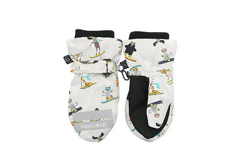Pair of gray & black water repellent mitts with print of skiers