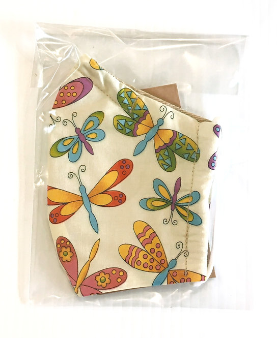 plastic package of Kids' Reusable Protective Mask-colourful butterfly print on yellow background