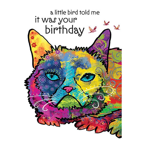 psychedelically colored cat's face-text A little bird told me it was your birthday