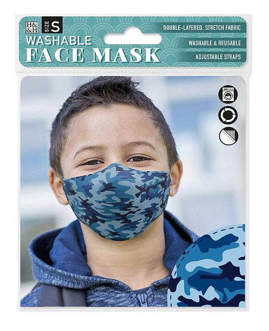 Packaging showing model wearing blue camo print mask