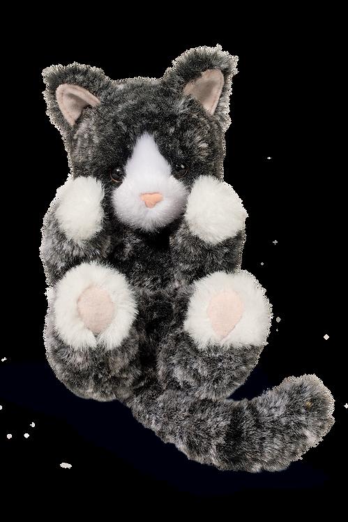 small plush stuffed animal toy - black & white kitten
