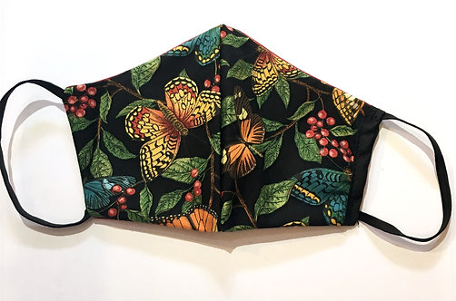 Black cotton mask with gold & green butterflies print