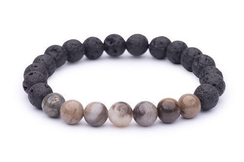 Lava Bead Stretch Bracelet with petrified wood beads