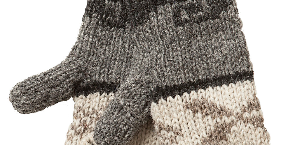 Light & dark gray & white knit wool mitts with openings for thumb & fingers