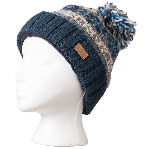 knit wool toque-style hat-solid teal ribbed cuff-teal gray & white pattern & pompom