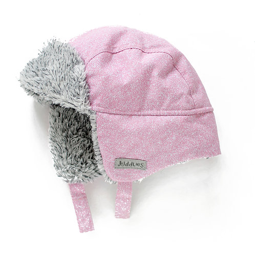 Side view of speckled pink & white baby pilot hat with gray fleece lining