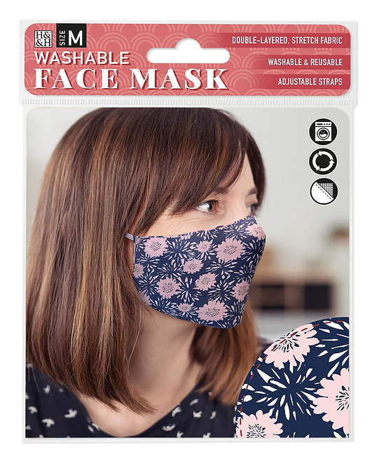 Packaging showing model wearing blue mask with pink & white floral print
