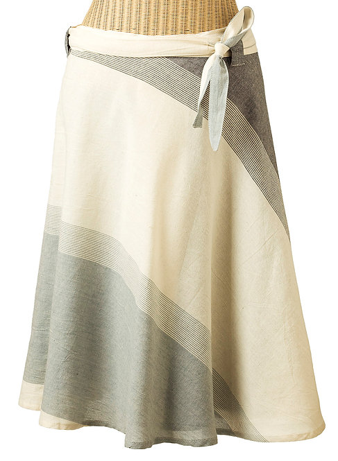 Fair trade one size wrap around skirt with tie at waist, full A-line, large diagonal blocks of grays and natural