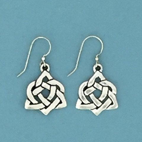 Basic Spirit Pewter Celtic Heart Earrings