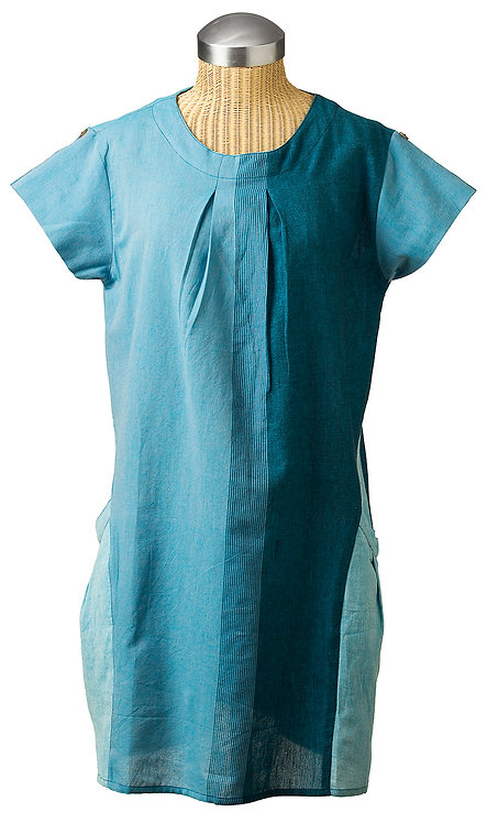 Fair Trade tunic dress short sleeves round neck A-line 2 pockets 3 panels of graduated shades of soft teal