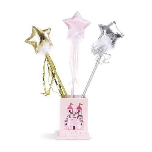 3 sparkly wands standing in a pink castle shaped box, each with a shine star on top, 1 gold, 1 pink, 1 silver