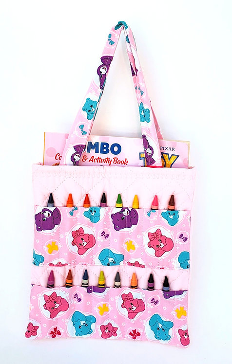 2-handle Crayon Bag-pink-2  stitched pink Care Bears print fabric panels hold 8 crayons each on front-coloring book inside