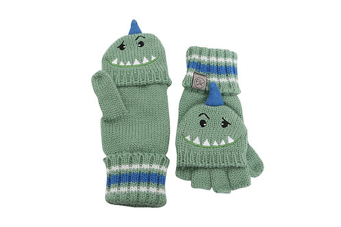 Green knit fingerless gloves with mitten flap over fingers & monster face with horn on backs