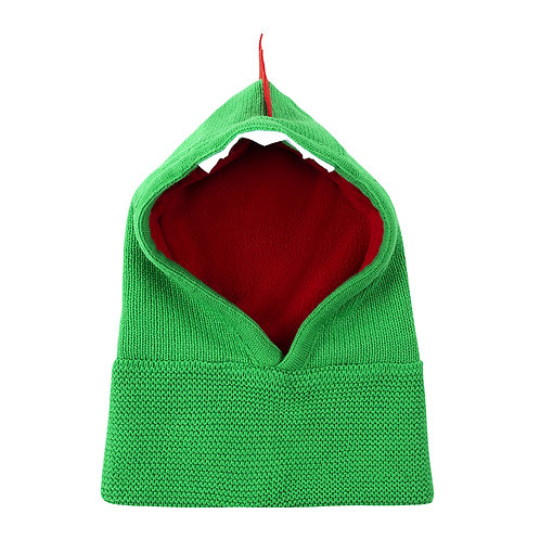 front view of green knit baby balaclava with red lining, white teeth at top of face opening, red spines on top