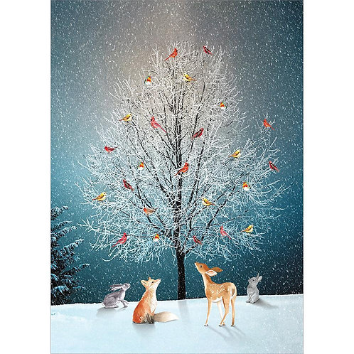 Dark blue card with animals looking up at luminous tree with ice-covered leafless branches full of yellow & red birds