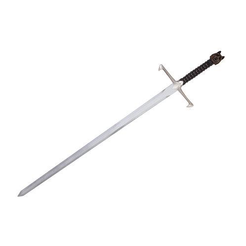 Long silver foam sword with black handle ending in a wolf's head