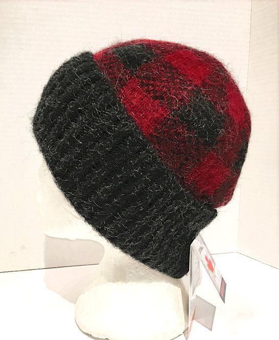red & black checked wool toque with gray cuff