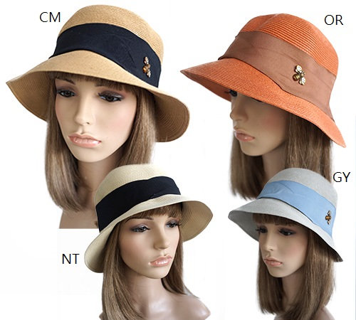 4 Bee Cool Women's Straw Sun Hats on mannequins in cream, neutral, orange and gray