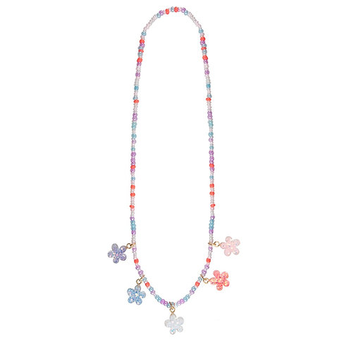 Child's dress-up necklace of pink, blue & mauve beads & 5 glittery flower charms