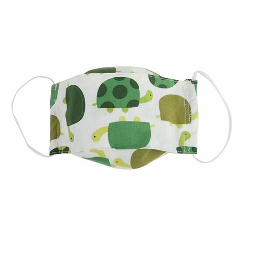 kids cloth mask-white with green turtles print