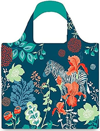 Wide handled cloth shopping bag navy blue with black & white zebra and flowers