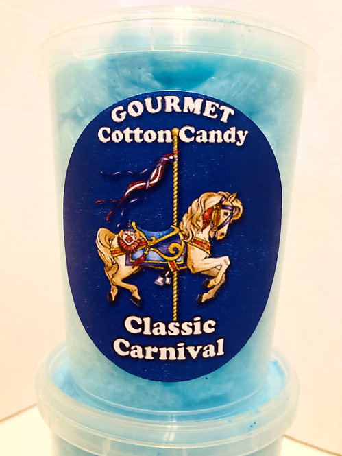 Clear plastic tub of blue cotton candy with blue sticker, text, 'Gourmet Cotton Candy' & 'Classic Carnival'