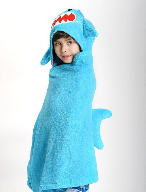 toddler wrapped in blue hooded towel with shark teeth & fin