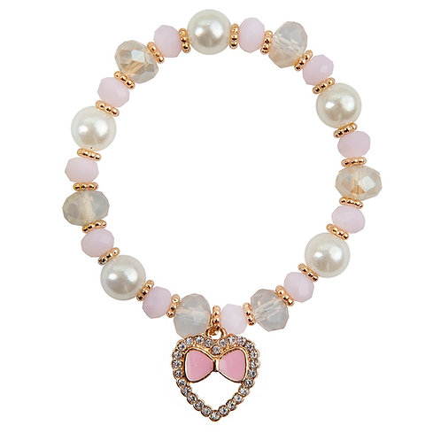 Child's elastic dress-up bracelet with pink, white & gold beads & heart shaped charm