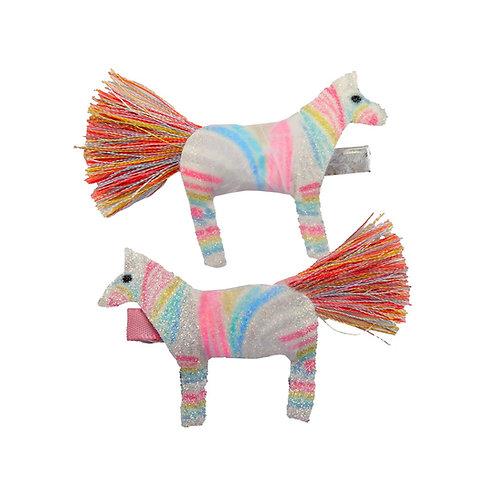 2 sparkly rainbow striped zebra hair clips with tassel tails