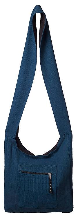 Fair Trade medium size dark blue cotton shoulder bag-zips shut-zipper pocket-cotton shoulder strap-fine herringbone print
