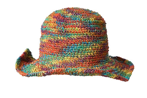 Hemp Cotton Wire Rim Hat - Tie Dye Rainbow